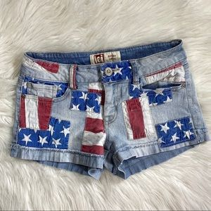 Patriotic Patch work low rise jean shorts 5